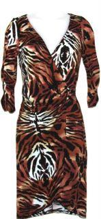 NEW Colleen Lopez Animal Print Wrap Dress w/ Ring Detail