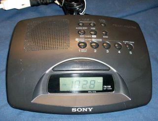 Sony DREAM MACHINE Digital DUAL 2 Alarm CLOCK AM FM RADIO #ICF C233