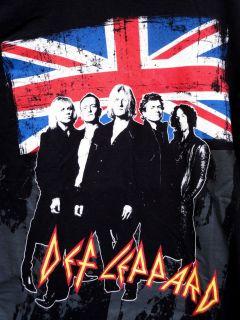 Shirt Black L DEF LEPPARD Sparkle Lounge Band Tour 08 Union Jack
