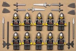 10 Lego Castle Minifigs Knights Guys Men People Lot w/ SILVER WEAPONS