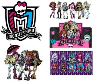 GREAT MONSTER HIGH ***** ***FABRIC/T SH IRT IRON ON TRANSFERS