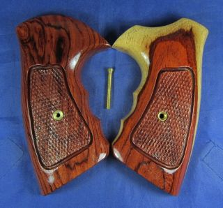 NEW GLOSS WOOD CHECKERED GRIPS FOR COLT KING COBRA, ANACONDA, HANDMADE