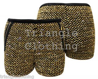 Sparkling Gold Sequin Hot Pants Shorts Party Zip Knitted Stretch