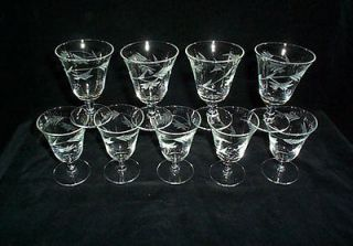 Etched Glass Leaf Cordial Small Wine Glasses (9)