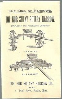 1880 HUB ROTARY HARROW SULKY Single & Double Horse Farm Equipment
