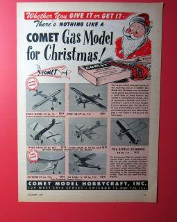 COMET MODEL 1949 Magazine Ad for Control Line C/L & Free Flight Model