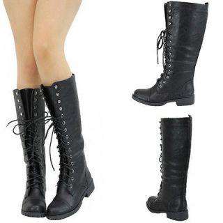 NEW BLK ROUND TOE LACE UP COMBAT MILITARY LOW FLAT HEEL MID CALF KNEE