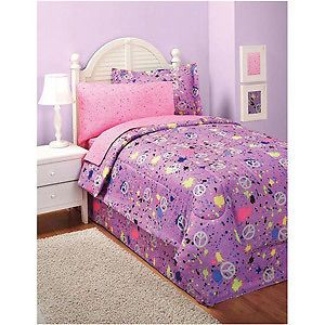 ... FULL SIZE PEACE SIGN PURPLE BED IN A BAG COMFORTER BED SET NEW ...