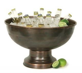 Bar Aged Copper Beer Wine Soda Beverage Chiller Pedestal Tub Ice Stand