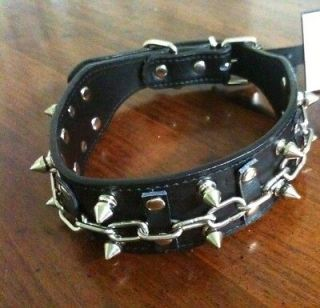 Spiked Dog Collars Size 19 To 22 Leather Pet Collar Necklace Spike