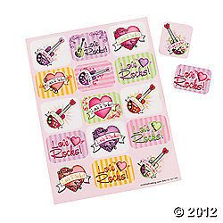 VALENTINES DAY ~ 24 Sheets Love Rocks Heart Stickers Kids Party Favors