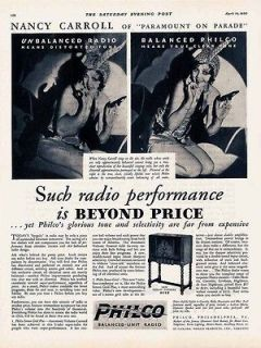 1930 AD Philco console radio Nancy Carroll