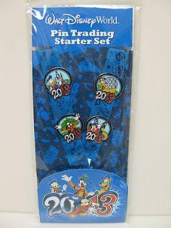 2013 DISNEY PIN TRADING STARTER SET   4 PINS + LANYARD Mickey Donald