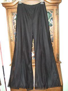 vintage palazzo wide leg pants 80s black S M disco mod mesh fabric cut