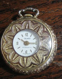 Vintage Gold tone Truway Pendant Pocket Watch Antimagnetic Swiss Made