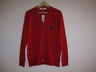 COMME Des GARCONS CDG (2) PLAY RED HEART MENS CARDIGAN SWEATER L