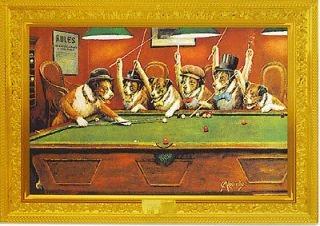 Dogs Playing Pool by C.M. Coolidge Modern Postcard