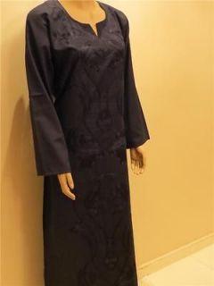 Egyptian Cotton Galabeya Abaya Islamic Black Jilbab Dress Kaftan XL