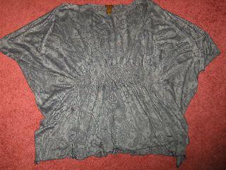 Copper Key Ladies Gray Top Shirt Puffy Sleeves Sz M   L