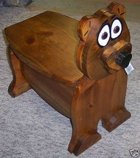 NEW** Handmade Wooden Bear Step Stool/Seat   SO CUTE
