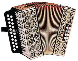 NEW Hohner 2815 AD Pokerwork Button Accordion Accordian, Case, Straps