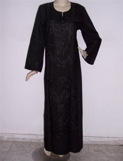 Egyptian Cotton Embroidered Long Kaftan Caftan Jilbab Arabic Dress