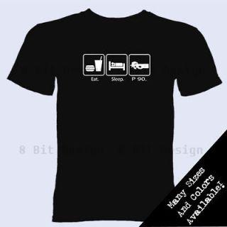 Eat Sleep P90 T Shirt P 90 Gamer Grenade Gun Military War FPS Gift