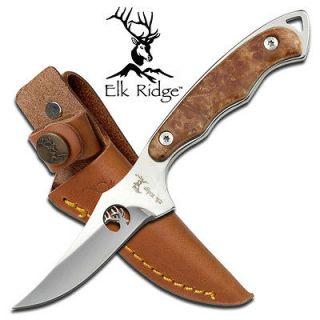 Elk Ridge Full Tang Maple Burl Wood Handle Hunting Skinning Knife