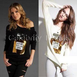 Black or White SEQUINED LOVE POTION NO 9 Embellished Jumper Sweater UK