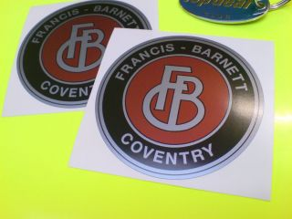FRANCIS BARNETT of Coventry Silver Classic Motorcycle Stickers Decals