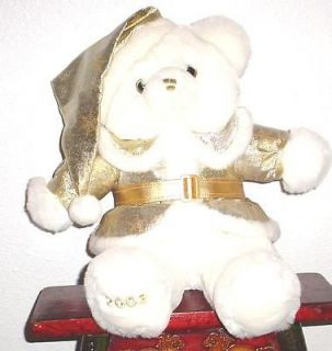 2003  CHRISTMAS Snowflake TEDDY BEAR White Boy 20 Gold Outfit