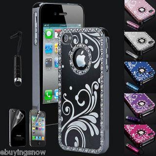 Aluminum Chrome Bling Diamond Case Cover For iPhone 4 4S w/Screen