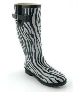 Corkys Sunshine Zebra Print NEW Black White Rubber Rain Snow Boots