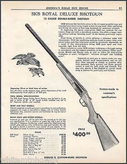 1962 SKB Royal Deluxe 12 gauge Double Barrel SHOTGUN AD