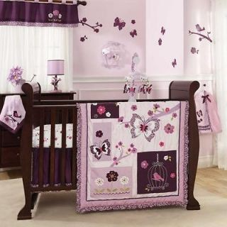 Purple and Lavander Butterfly Bird Baby Girl 5pc Nursery Crib Flower