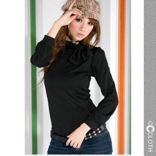 High Neck Ladies Shirt Vintage Cotton Tie Neck Long Sleeve Top Blouse