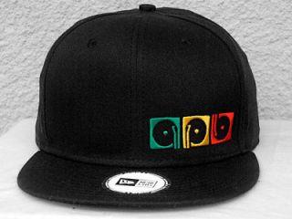 New Era Black Adjustable Flat Bill Snapback Snap Back Hat Cap Rasta DJ
