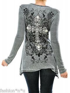 CRYSTAL VINTAGE CROSS ROSE WINGS TATTOO THERMAL SHIRT TUNIC & ED HARDY