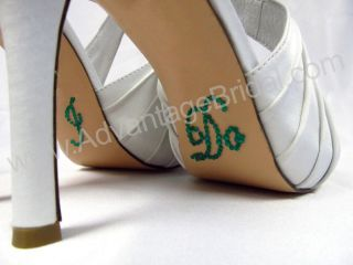 Script Emerald Green Crystal I DO Wedding Shoe Stickers for Bridal