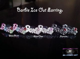NICKI MINAJS ICE OUT BARBIE STUD RHINESTONE EARRINGS
