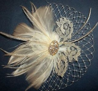 Ivory Vintage Lace Bridal Fascinator Wedding Hair Clip Accessory