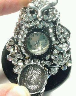 Vintage Owl Stretch Ring Watch Silver Tone Crystal Eyes Kirks Folly