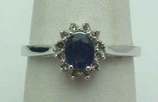 Carat Diamond Sapphire Ring Princess Diana 14k White Gold New In