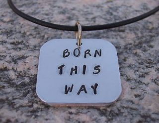 born this way pendant on leather necklace inspired by Lady Gaga
