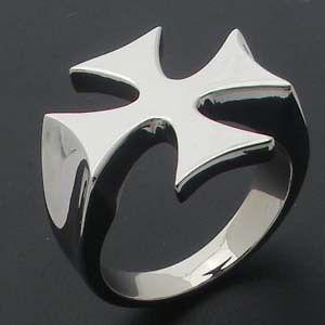 Steel Biker Ring High Polish Iron Cross Gift US Sizes 8 13 NEW