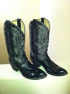 Dan Post Vintage Black EEL Skin Western Cowboy Boot Men 10.5 D Rare