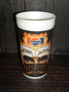 & VERY RARE MICHAEL JACKSON DANGEROUS WORLD TOUR PEPSI COLA CUP # 1