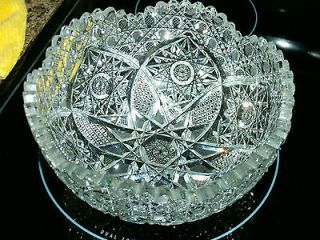 ABP Antique American Brilliant Period Cut Glass Large Serving Bowl