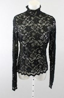 DONNA DEGNAN Black Long Sleeve Lace Sheer Mock Turtleneck Blouse Top