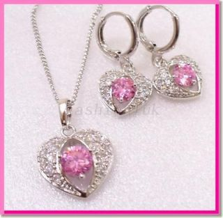 hoops CZ Earrings Necklace White Gold Plate Wedding Valentine Birthday